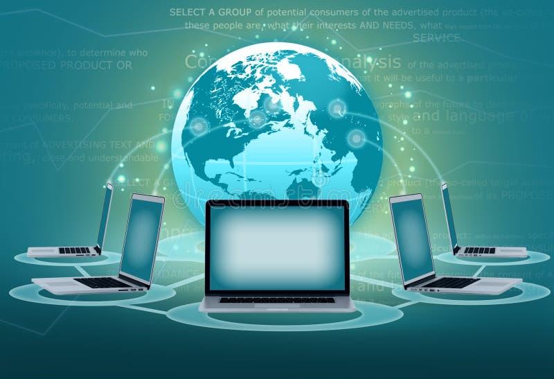 Ordinateur portable de groupes de communications électroniques illustration de vecteur