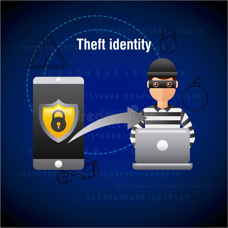 Ordinateur portable de pirate informatique d'identité de vol entaillant des données mobiles illustration de vecteur