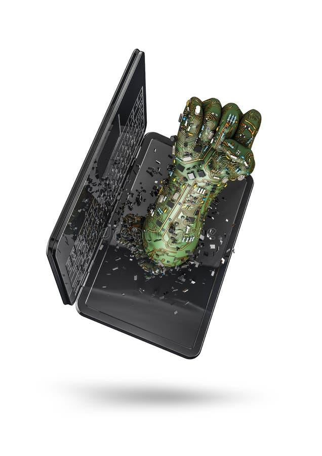 Ordinateur portable de poing de données illustration libre de droits