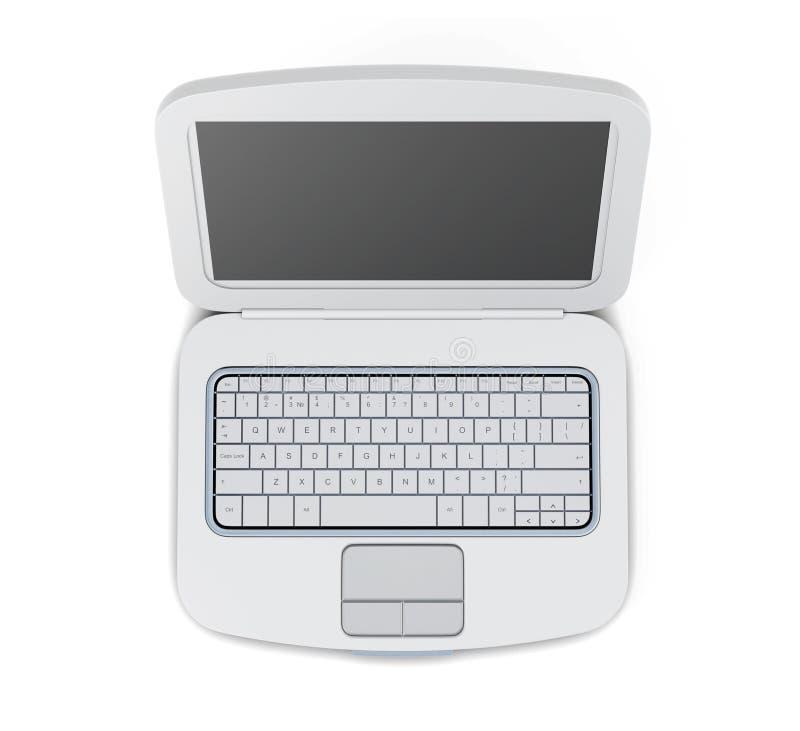 Ordinateur portable de rendu de la vue supérieure 3d illustration de vecteur