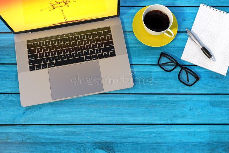 Ordinateur portable de style de MacBook Pro sur le bureau coloré illustration stock