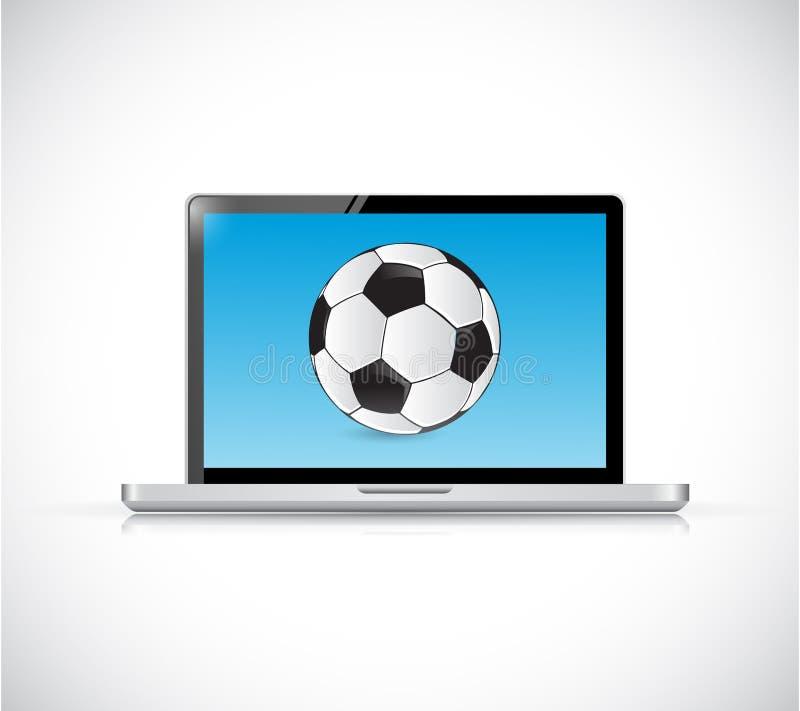 Ordinateur portable et ballon de football. conception d'illustration illustration stock