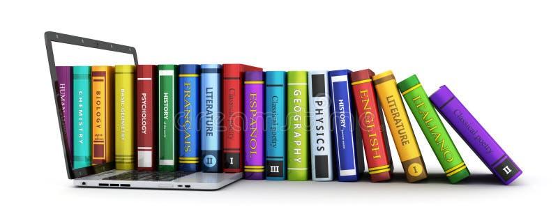 Ordinateur portable et beaucoup rangée de livre illustration de vecteur