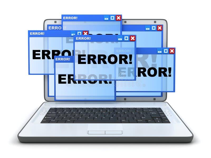 Ordinateur portable et erreur photos stock