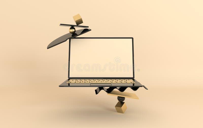 Ordinateur portable et fond géométrique différent de maquette d'objets dans le style minimal moderne Le carnet 3d rendent dans de illustration libre de droits