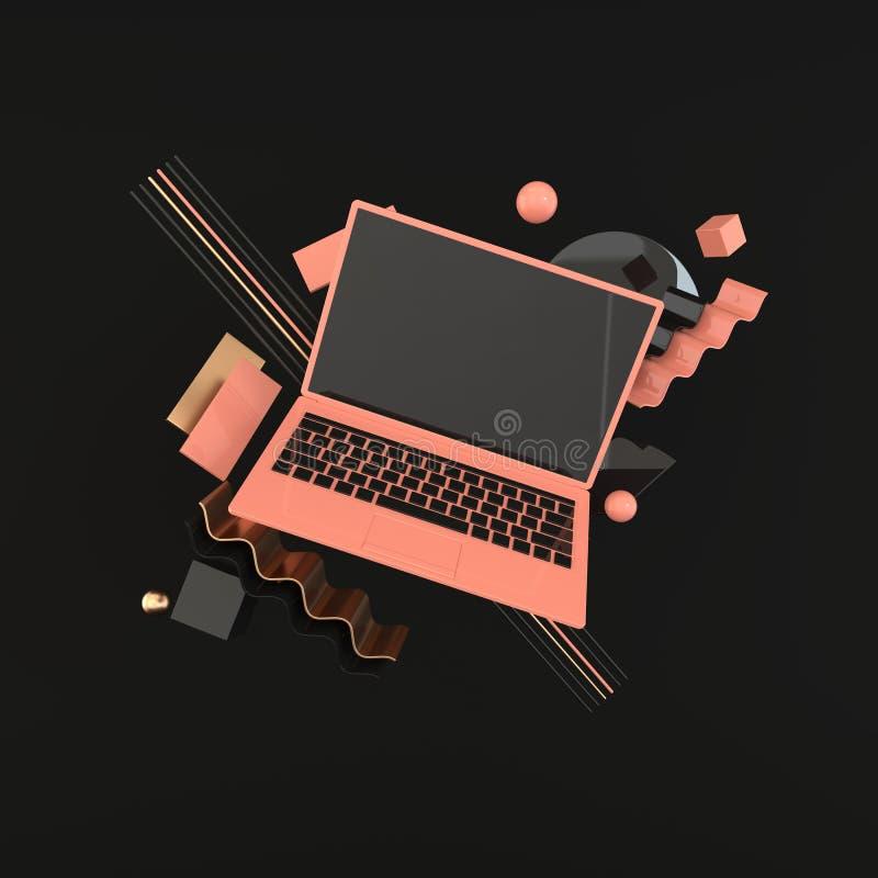 Ordinateur portable et fond géométrique différent de maquette d'objets dans le style minimal moderne Le carnet 3d rendent dans de illustration stock