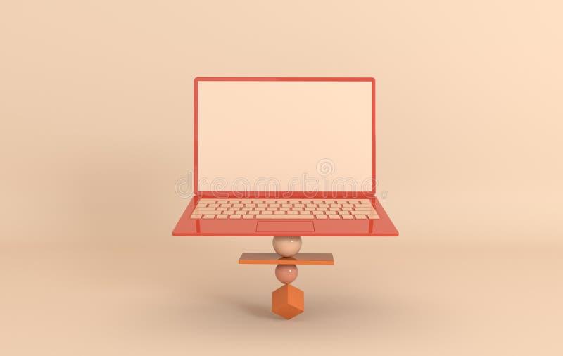 Ordinateur portable et fond géométrique différent de maquette d'objets dans le style minimal moderne Le carnet 3d rendent dans de illustration de vecteur