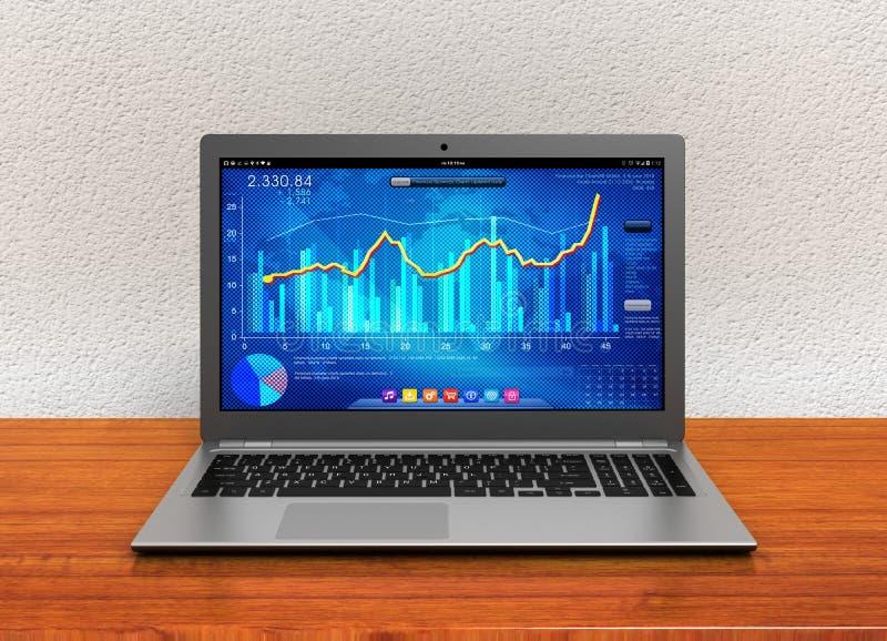 Ordinateur portable et illustration du graphique 3d de finances d'affaires illustration de vecteur