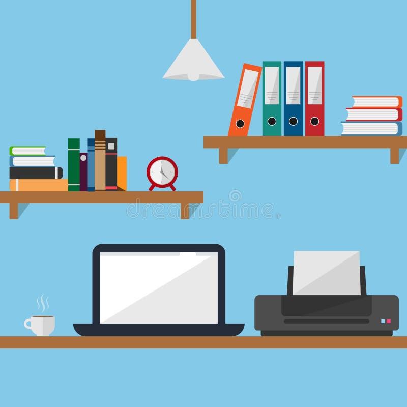Ordinateur portable et imprimante plats d'illustration de vecteur de conception de bureau d'espace de travail illustration stock