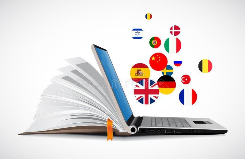 Ordinateur portable et livre comme dictionnaire - système en ligne de connaissance des langues d'apprentissage en ligne illustration stock