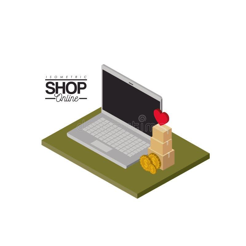 Ordinateur portable et pièces de monnaie et pile et coeur de boîtes en carton sur le dessus au-dessus de la boutique isométrique  illustration stock