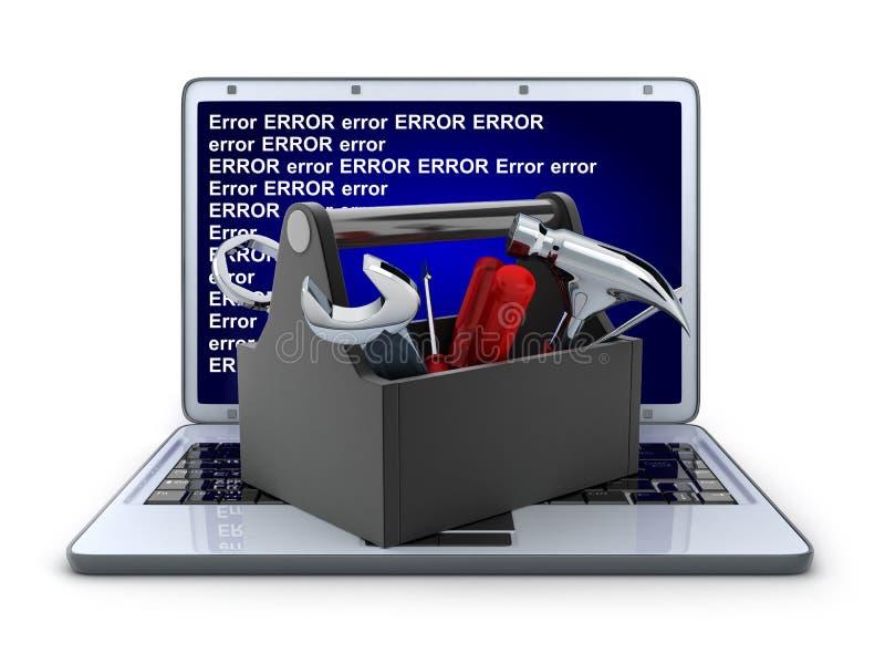 Ordinateur portable et réparation illustration de vecteur