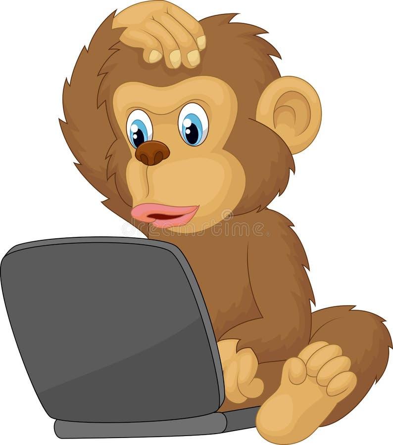 Ordinateur portable fonctionnant de singe de bande dessinée illustration libre de droits