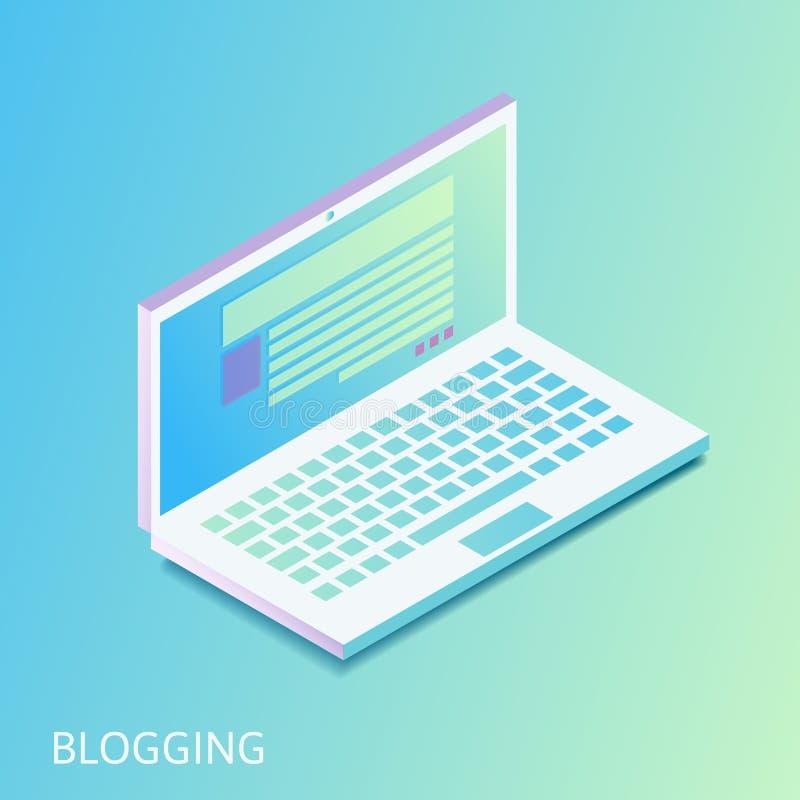 Ordinateur portable gradiented isométrique - site Web ouvert avec le courrier de blog ou l'article d'actualités sur l'écran d'ord illustration stock