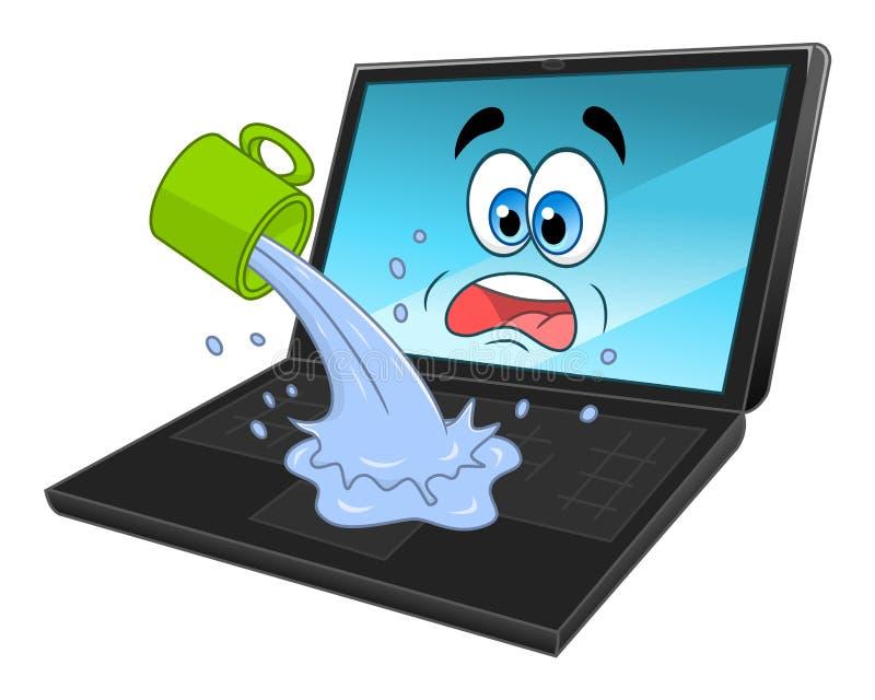 Ordinateur portable inondé illustration libre de droits