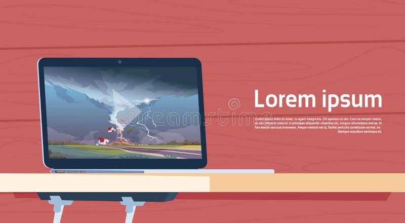 Ordinateur portable jouant la vidéo de tordre le paysage de destruction d'ouragan de ferme de tornade de la trombe de tempête dan illustration libre de droits