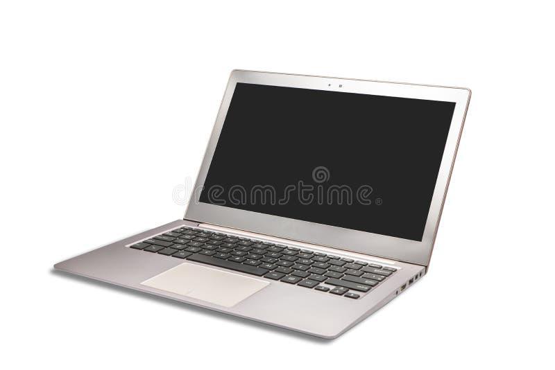 Ordinateur portable moderne avec l'écran blanc vide d'isolement sur le blanc image libre de droits