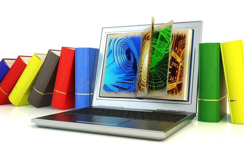 Ordinateur portable moderne entre les livres illustration libre de droits