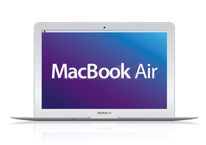 Ordinateur portable neuf d'air de livre d'Apple Mac illustration stock