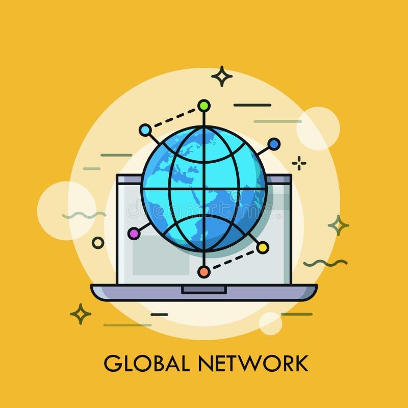 Ordinateur portable ouvert et globe entourés par des marques d'emplacement Concept de mise en réseau globale, coopération interna illustration stock