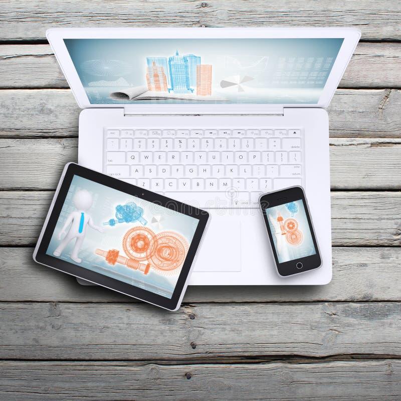 Ordinateur portable, PC de comprimé et smartphone photographie stock