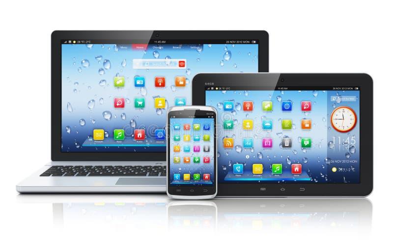 Ordinateur portable, PC de tablette et smartphone illustration de vecteur