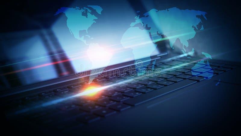 Ordinateur portable, plan rapproché de clavier, lampe au néon photo libre de droits