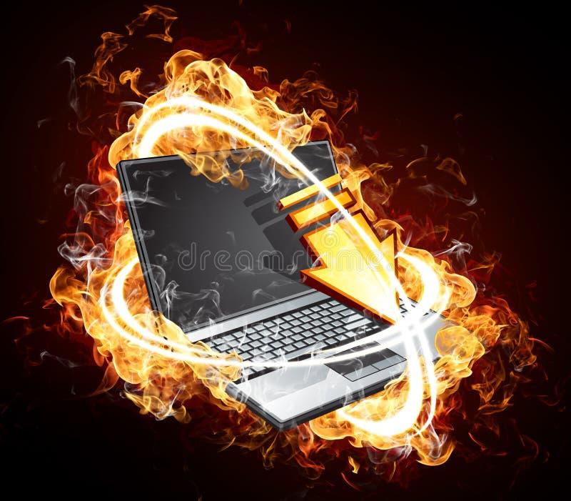 Ordinateur portable sur l'incendie illustration de vecteur