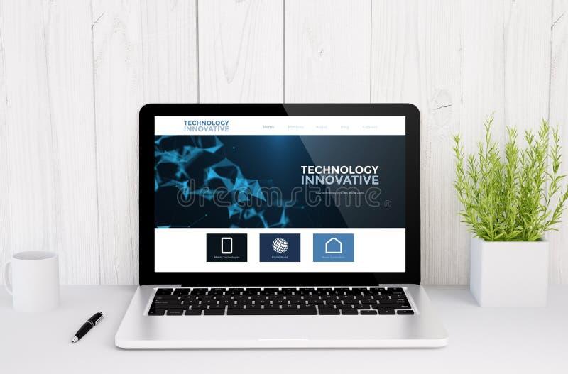 ordinateur portable sur le site Web innovateur de table illustration de vecteur