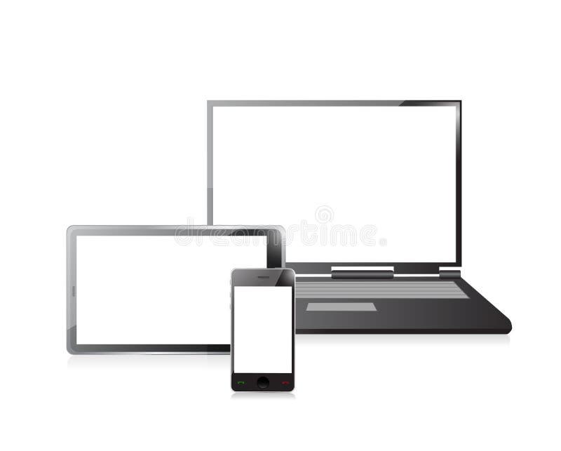 Ordinateur portable, téléphone portable et PC numérique de comprimé illustration libre de droits