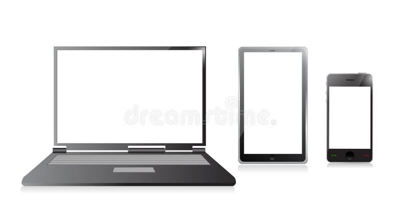 Ordinateur portable, téléphone portable et PC numérique de comprimé illustration stock