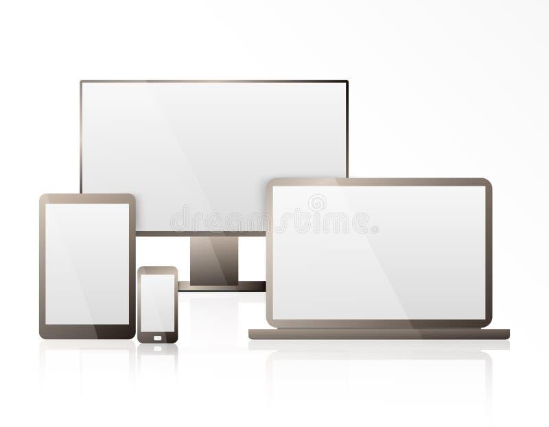 Ordinateur, ordinateur portable, Tablette et téléphone portable réalistes avec l'écran transparent de papier peint d'isolement En illustration libre de droits