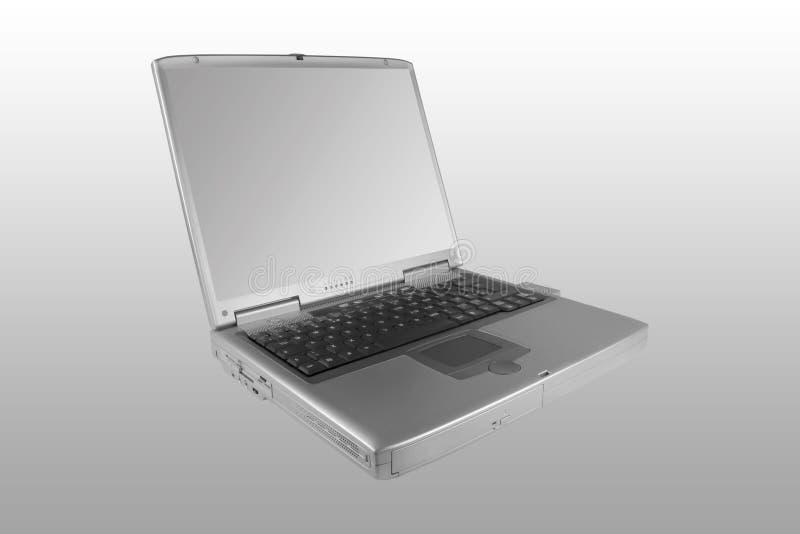 Ordinateur portatif argenté image stock