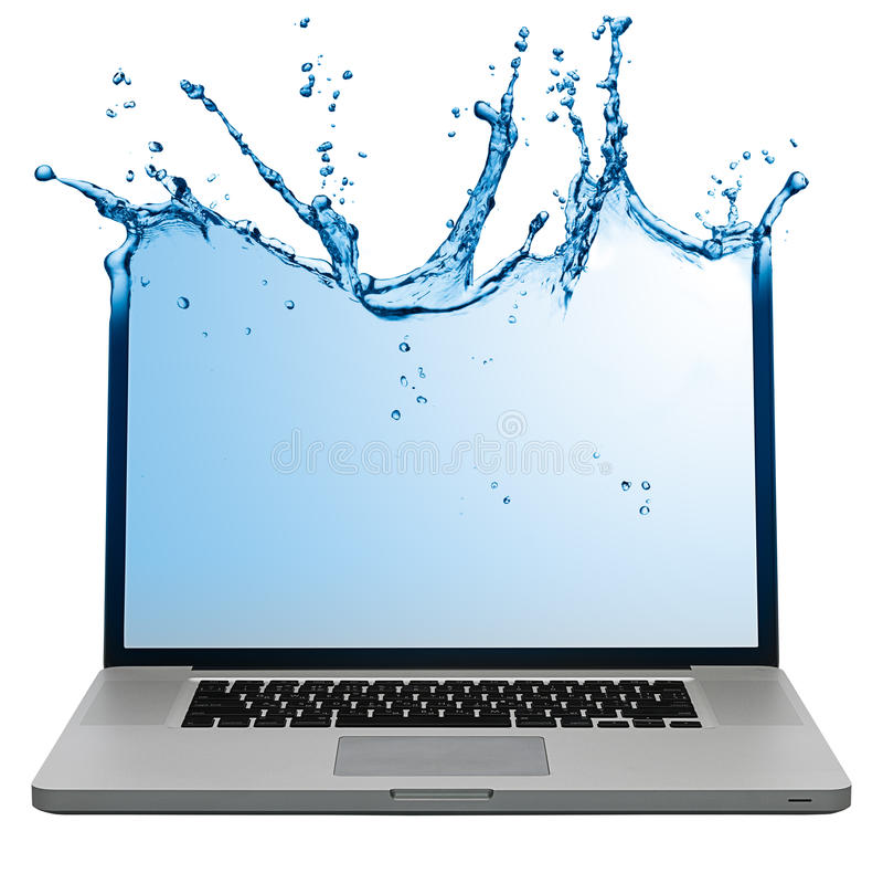 Ordinateur portatif avec l'écran aqueux photographie stock libre de droits
