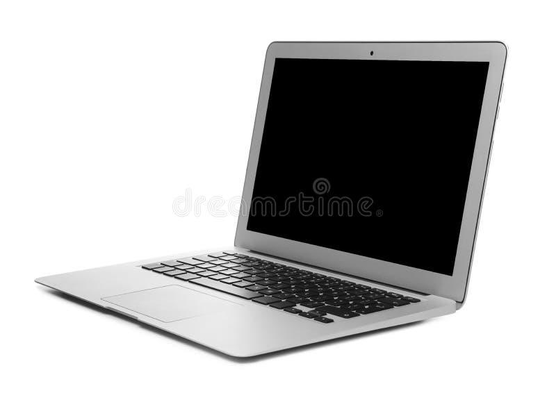 Ordinateur portatif avec l'écran blanc photographie stock libre de droits