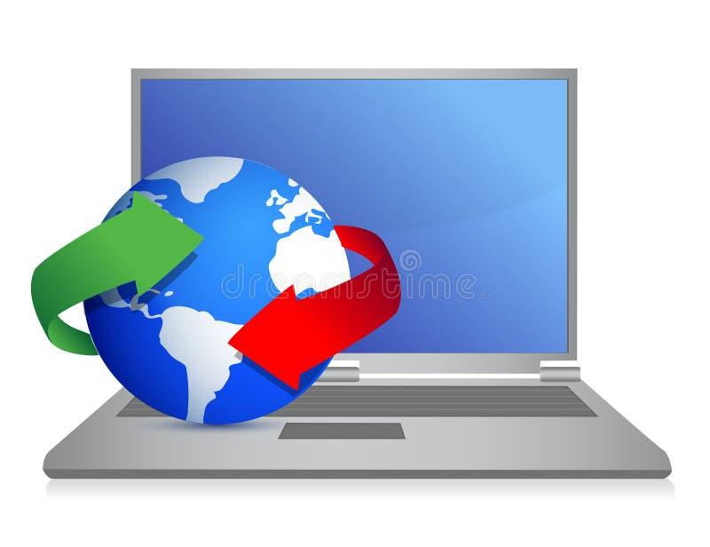 Ordinateur portatif avec la conception d'illustration de globe de cycle illustration libre de droits