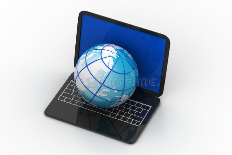 Ordinateur portatif avec le globe illustration de vecteur
