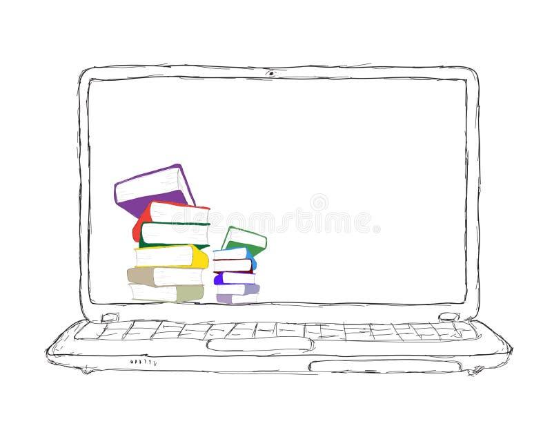 Ordinateur portatif avec les livres et l'affichage neutre illustration de vecteur