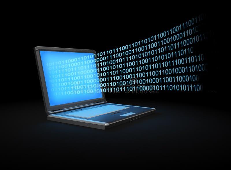 Ordinateur portatif avec un flot des données binaire illustration stock