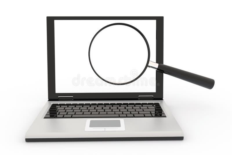Ordinateur portatif avec une loupe illustration de vecteur