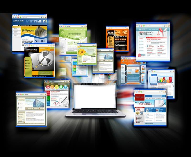 Ordinateur portatif blanc d'ordinateur de site Web d'Internet illustration libre de droits