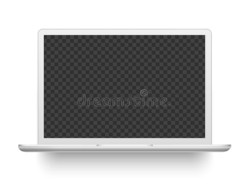 Ordinateur portatif blanc Illustration de vecteur de dispositif de l'électronique de maquette illustration libre de droits