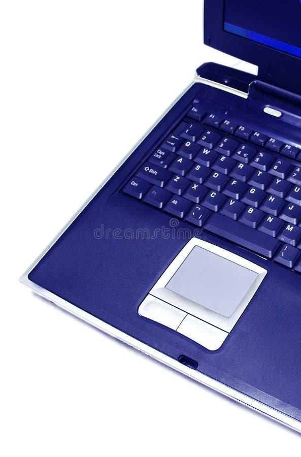 Ordinateur portatif bleu image stock
