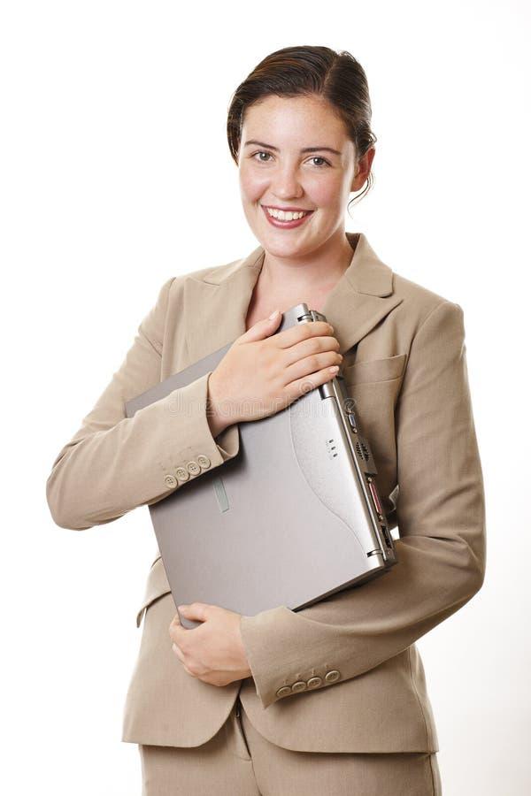 Ordinateur portatif de femme d'affaires photos libres de droits