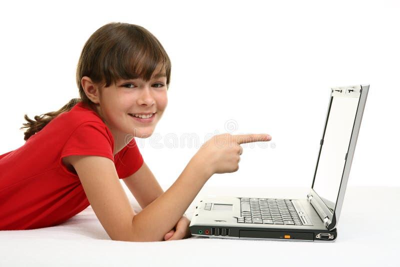ordinateur portatif de fille image libre de droits
