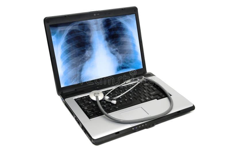 ordinateur portatif de santé images libres de droits