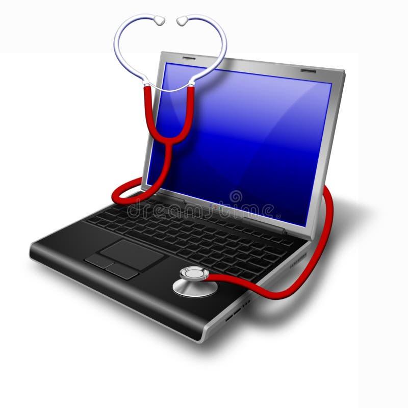 Ordinateur portatif de santé, bleu de cahier illustration libre de droits