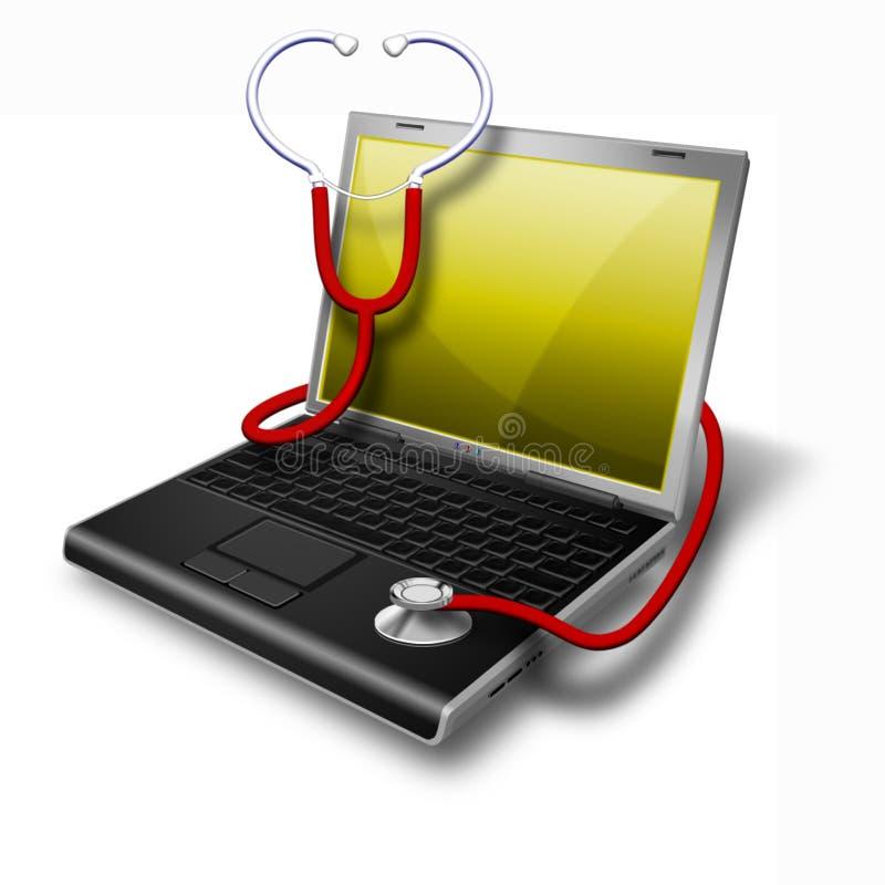 Ordinateur portatif de santé, jaune de cahier illustration de vecteur