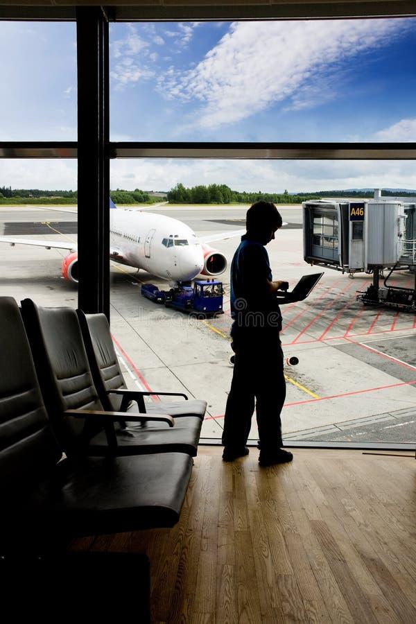 Ordinateur portatif de terminal d'aéroport image stock