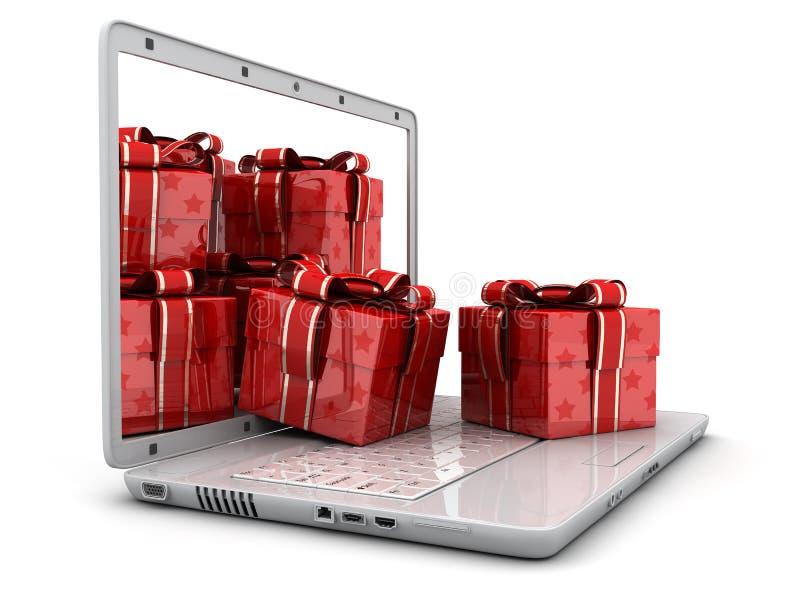 Ordinateur portatif et beaucoup de cadeaux illustration libre de droits